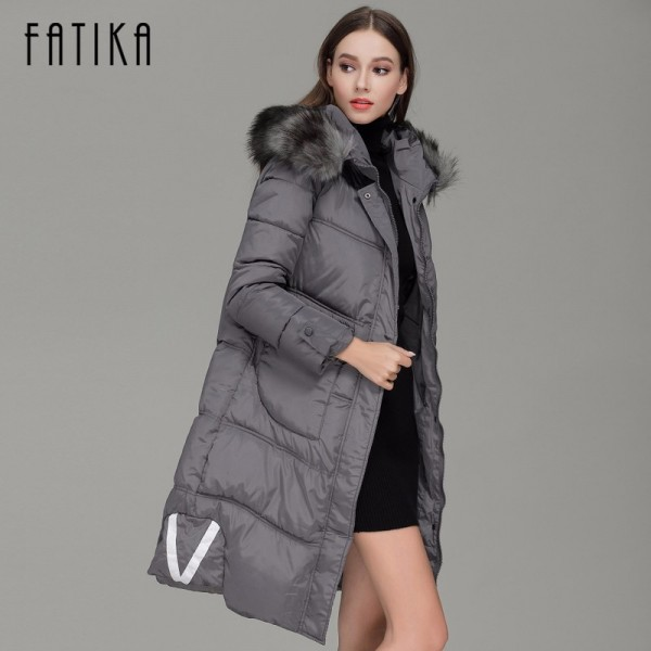 Winter Women Warm Parka Cotton Padded Fur Collar Hooded Parkas Plus Size Casual Wadded Jackets Outwear for Woman Extra Image 3