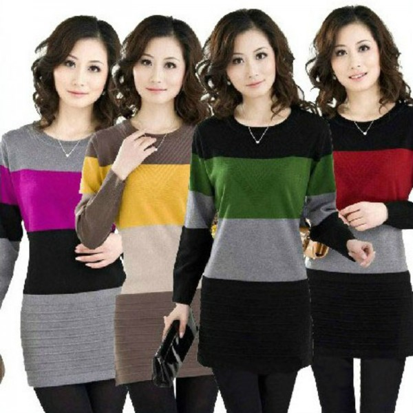 Winter Womens Long Sleeve Casual Knitted Stripe Pattern Pullover Cashmere Sweater Dress Ladies Jumper Knitwear Tops