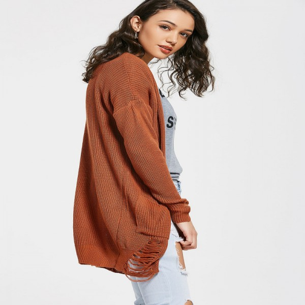 Women Autumn Knitted Sweaters Solid Color Casual Cardigans Elastic Long Sleeve Tops Open Front Ripped Pockets Cardigan Extra Image 2