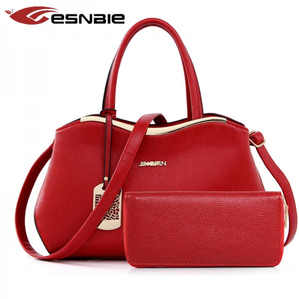 Women Bags Two Set Luxury Leather Purse And Handbag High Quality Designer Handbags Shoulder Bags Thumbnail