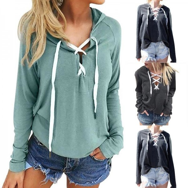 Women Bandage Top Hoodies Sweatshirt Casual Long Sleeve Solid Color Plus Size Autumn Spring Hooded Sweatshirt Extra Image 2