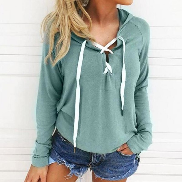 Women Bandage Top Hoodies Sweatshirt Casual Long Sleeve Solid Color Plus Size Autumn Spring Hooded Sweatshirt Extra Image 4