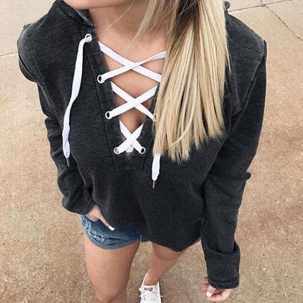 Women Bandage Top Hoodies Sweatshirt Casual Long Sleeve Solid Color Plus Size Autumn Spring Hooded Sweatshirt Extra Image 5