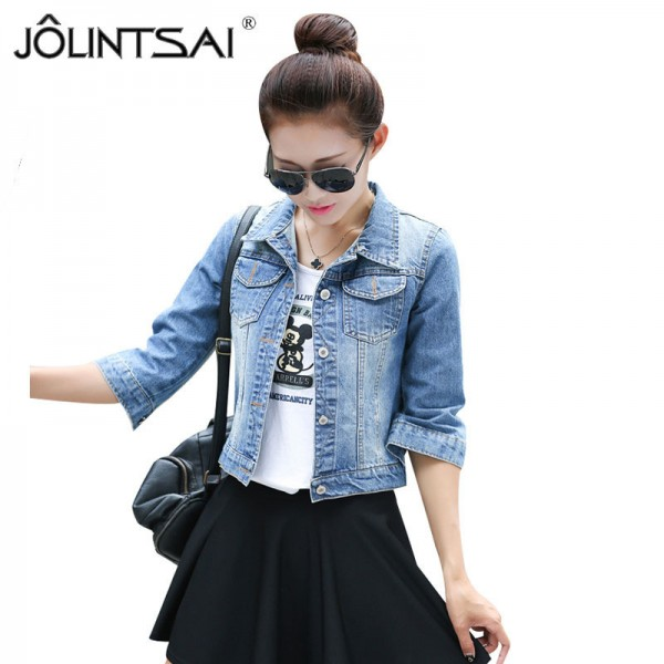 Women Basic Coats Korean Fashion Short Denim Jacket Women Vintage Half Sleeve Female Jeans Coat Casual Girls Outwear Extra Image 1