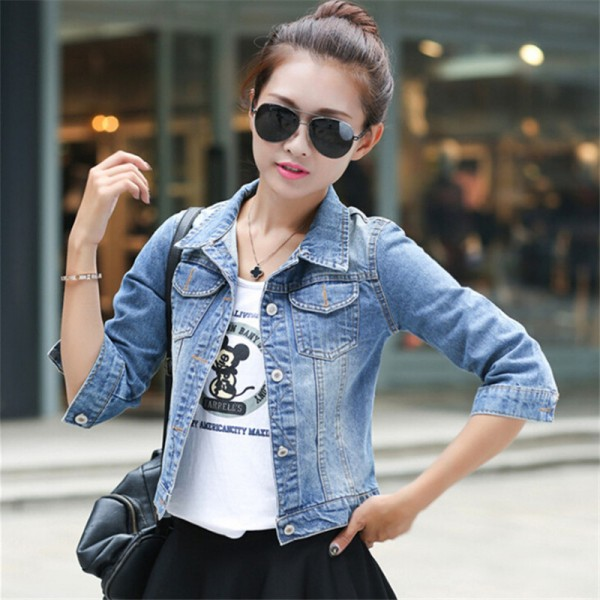 Women Basic Coats Korean Fashion Short Denim Jacket Women Vintage Half Sleeve Female Jeans Coat Casual Girls Outwear Extra Image 2