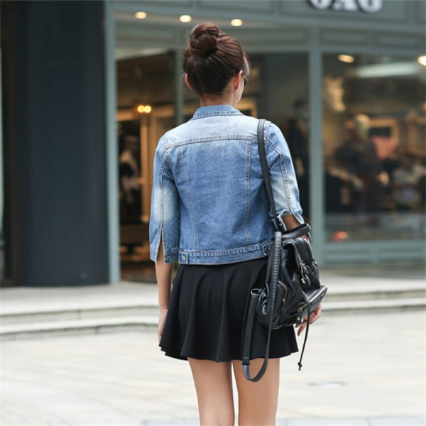 Women Basic Coats Korean Fashion Short Denim Jacket Women Vintage Half Sleeve Female Jeans Coat Casual Girls Outwear Extra Image 3