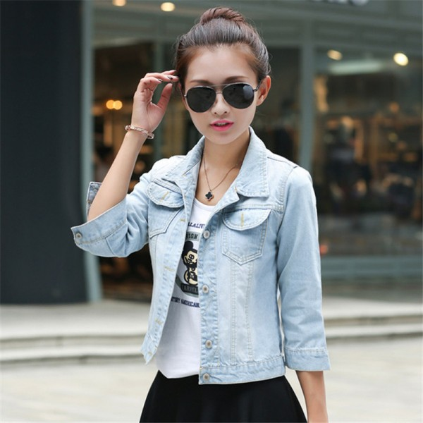 Women Basic Coats Korean Fashion Short Denim Jacket Women Vintage Half Sleeve Female Jeans Coat Casual Girls Outwear Extra Image 5