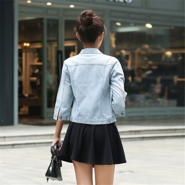 Women Basic Coats Korean Fashion Short Denim Jacket Women Vintage Half Sleeve Female Jeans Coat Casual Girls Outwear Extra Image 6