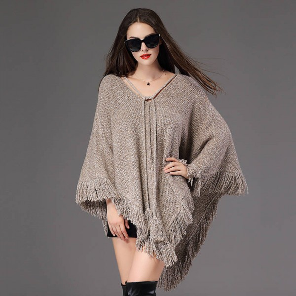 Women Batwing Knitwear Loose Pullover Blouse Sweater Cloak Poncho Coat Shawl Women Extra Images 5