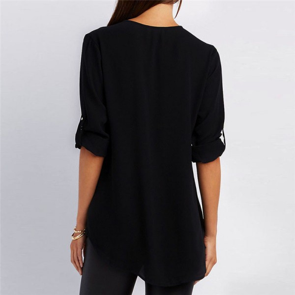 Women Blouses Tops Casual V Neck Long Sleeve Chiffon Blouse Ladies Office Shirts Women 2018 Spring Summer Blusas Extra Image 4