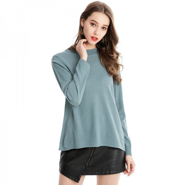 Women Casual Loose Knitted Pullovers Sweaters Solid Color Thin Female Sweater For Winter Season