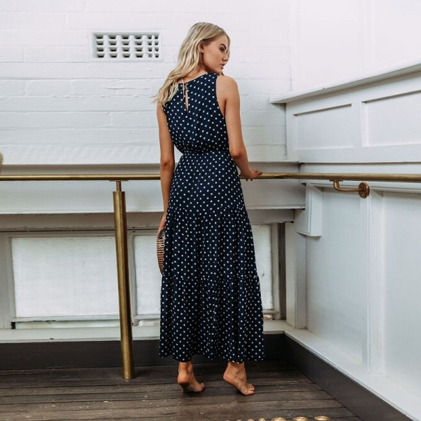 Women Casual Polka Dot Print Long Maxi Dress Femme Boho Beach Dress Sexy Evening Party Bodycon Vintage Dresses Extra Image 3