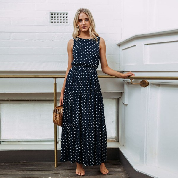 Women Casual Polka Dot Print Long Maxi Dress Femme Boho Beach Dress Sexy Evening Party Bodycon Vintage Dresses Extra Image 4