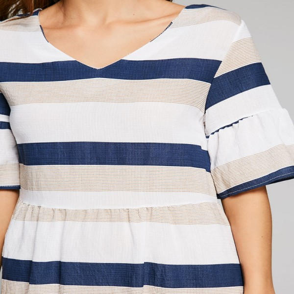 Women Casual Summer Dress Cut Out Half Flare Sleeve Striped Dresses V Neck A Line Female Mini Dress Hollow Out Vestidos Extra Image 5
