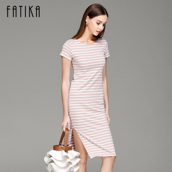 Women Casual Summer Dress Short Sleeve O Neck Bodycon Dress Striped Side Split T Shirt Womens Slim Fit Dresses Extra Image 3