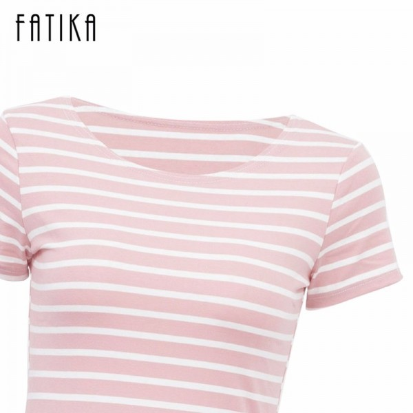 Women Casual Summer Dress Short Sleeve O Neck Bodycon Dress Striped Side Split T Shirt Womens Slim Fit Dresses Extra Image 6