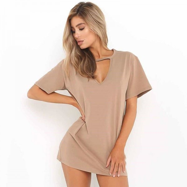 Women Causal Dress Summer Loose Short Sleeve V Neck Hollow Out Sexy T Shirt Mini Dress Outfit For Females Extra Image 3