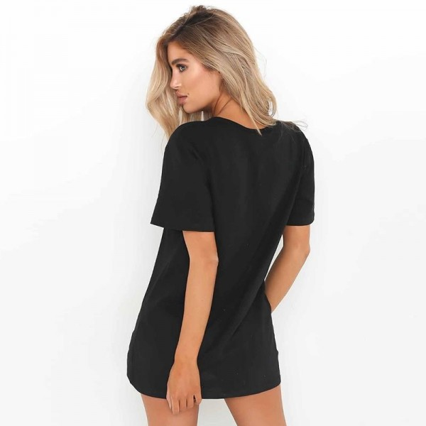 Women Causal Dress Summer Loose Short Sleeve V Neck Hollow Out Sexy T Shirt Mini Dress Outfit For Females Extra Image 5