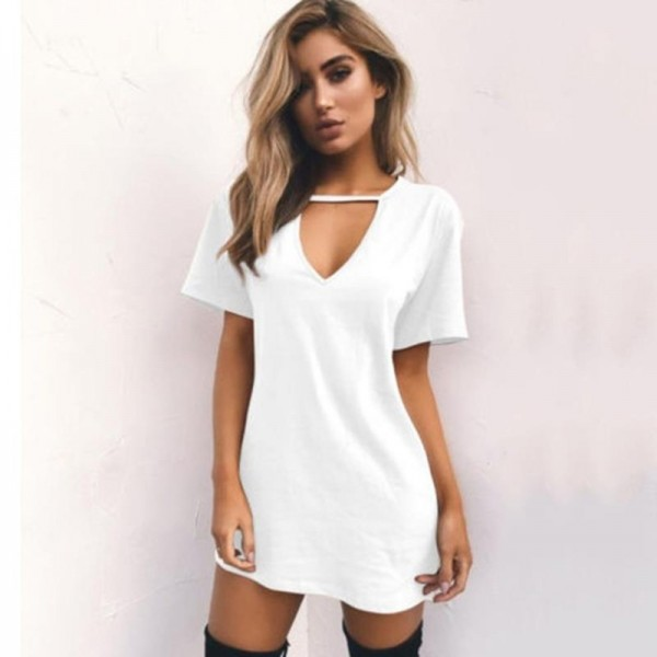 c627bc60963 Women Causal Dress Summer Loose Short Sleeve V Neck Hollow Out Sexy T Shirt  Mini Dress Outfit For Females