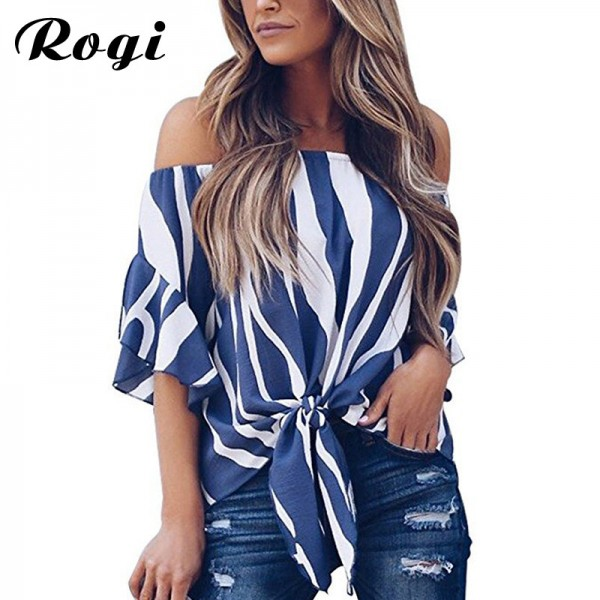 Women Chiffon Blouse 2018 Summer Off Shoulder Blouse Printed Striped Shirt Bow Tie Slash Neck Loose Tops Tunic Blusas Extra Image 1