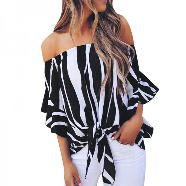 Women Chiffon Blouse 2018 Summer Off Shoulder Blouse Printed Striped Shirt Bow Tie Slash Neck Loose Tops Tunic Blusas Extra Image 2