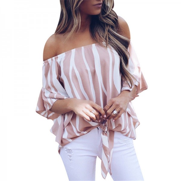 Women Chiffon Blouse 2018 Summer Off Shoulder Blouse Printed Striped Shirt Bow Tie Slash Neck Loose Tops Tunic Blusas