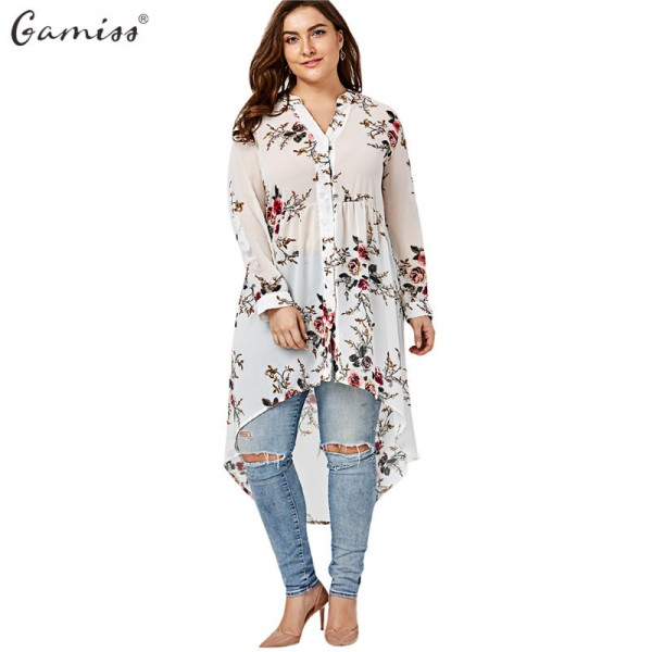 Women Chiffon Floral Blouse V Neck Plus Size Spring Autumn Long Sleeve Shirts With Button Female Top Long Shirts Extra Image 1