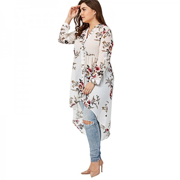 Women Chiffon Floral Blouse V Neck Plus Size Spring Autumn Long Sleeve Shirts With Button Female Top Long Shirts Extra Image 4