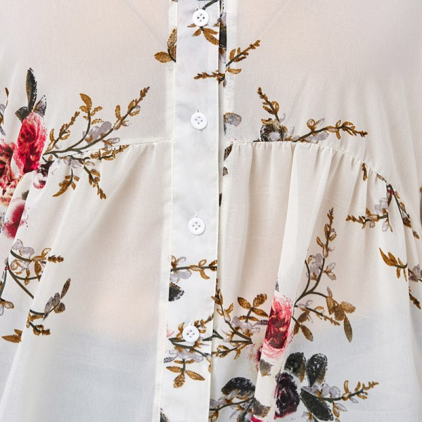 Women Chiffon Floral Blouse V Neck Plus Size Spring Autumn Long Sleeve Shirts With Button Female Top Long Shirts Extra Image 6