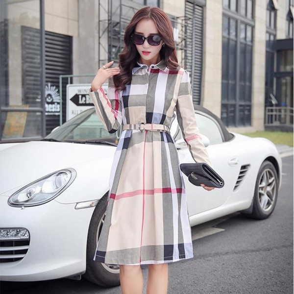 Women Dress Plaid Dress A Line  Long Sleeve Slim Autumn Elegant Dress Work Wear Office Dress Plus Size Extra Image 3