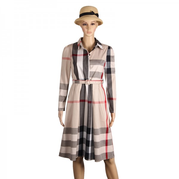 Women Dress Plaid Dress A Line  Long Sleeve Slim Autumn Elegant Dress Work Wear Office Dress Plus Size Extra Image 4