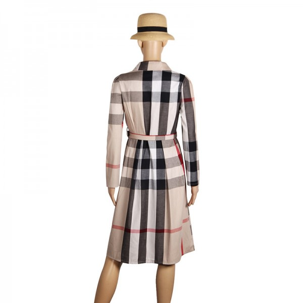 Women Dress Plaid Dress A Line  Long Sleeve Slim Autumn Elegant Dress Work Wear Office Dress Plus Size Extra Image 5