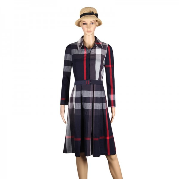 Women Dress Plaid Dress A Line  Long Sleeve Slim Autumn Elegant Dress Work Wear Office Dress Plus Size Extra Image 6
