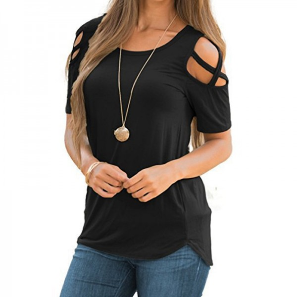 Women Fashion Casual Loose Cold Shoulder Tops Women Basic T Shirts Ladies Short Sleeve Cross Lace Up Tops Tee Female