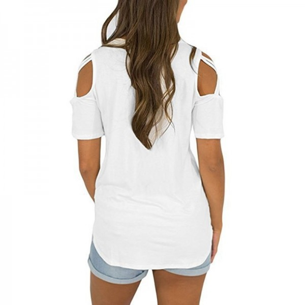 Women Fashion Casual Loose Cold Shoulder Tops Women Basic T Shirts Ladies Short Sleeve Cross Lace Up Tops Tee Female Extra Image 3