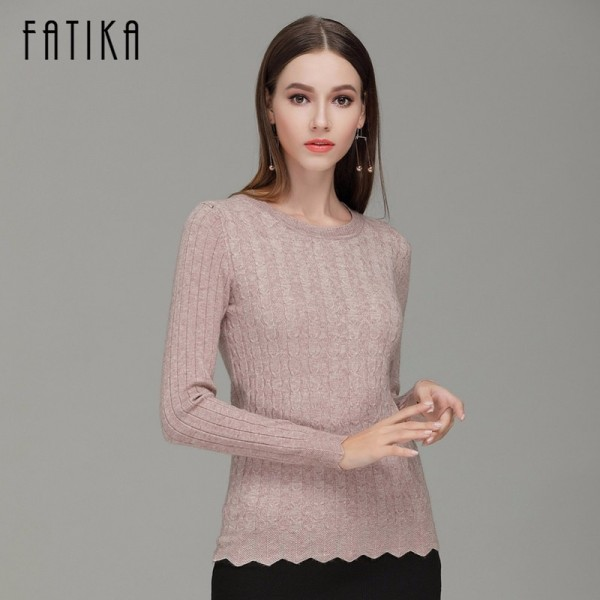 Women Fashion Casual Pullovers O Neck Full Sleeve Solid Stretched Sweaters Slim Casual Knitted Jumper Sweater Extra Image 2