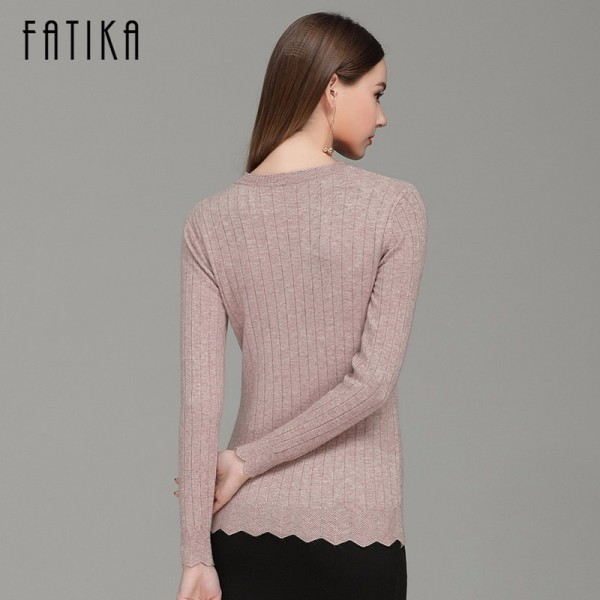 Women Fashion Casual Pullovers O Neck Full Sleeve Solid Stretched Sweaters Slim Casual Knitted Jumper Sweater Extra Image 4