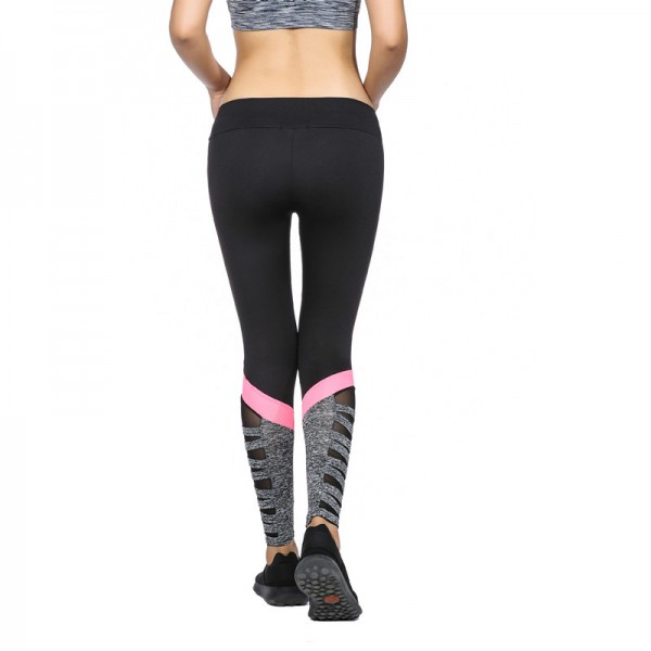 Women Fitness Legging High Waist Cutout Leggings New Arrival New Styles Black Color With Side Pink Splice Mesh Extra Image 4