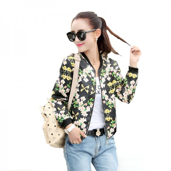 Women Floral Printed Short Jackets Zipper Outwear Tops Plus Size Coats For Women New Thumbnail