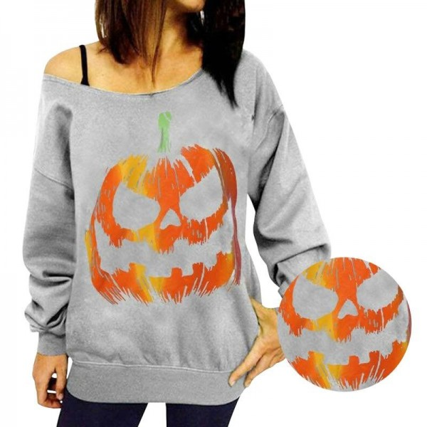 Women Halloween Tops Tees For Women Off Shoulder Sweatshirts Hoodies Female Top Class Autumn Outwear Extra Image 3