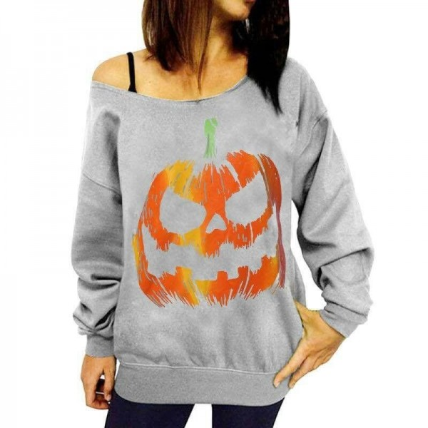 Women Halloween Tops Tees For Women Off Shoulder Sweatshirts Hoodies Female Top Class Autumn Outwear Extra Image 4