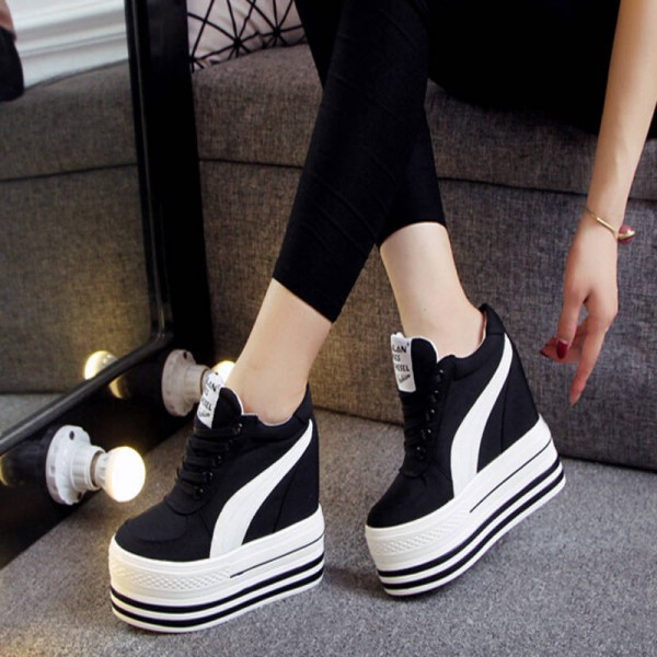 c5648c97b11 Women High Heel Autumn Canvas Wedge Height Increase Shoes New For Women