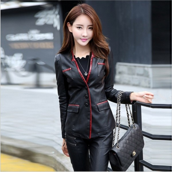 Women Leather Jacket Skin Coat Plus Size Fashion Single Breasted V Neck Cross Back PU Leather Outerwear High Quality