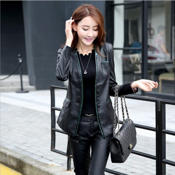 Women Leather Jacket Skin Coat Plus Size Fashion Single Breasted V Neck Cross Back PU Leather Outerwear High Quality Extra Image 1