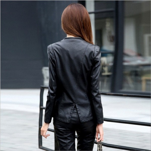 Women Leather Jacket Skin Coat Plus Size Fashion Single Breasted V Neck Cross Back PU Leather Outerwear High Quality Extra Image 2
