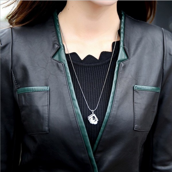 Women Leather Jacket Skin Coat Plus Size Fashion Single Breasted V Neck Cross Back PU Leather Outerwear High Quality Extra Image 3