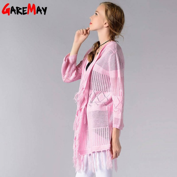 Women Long Cardigan Thin Knitted Coat Solid Color Open Sweater Outwear For Women Extra Images 1