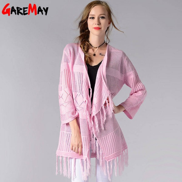 Women Long Cardigan Thin Knitted Coat Solid Color Open Sweater Outwear For Women Extra Images 3