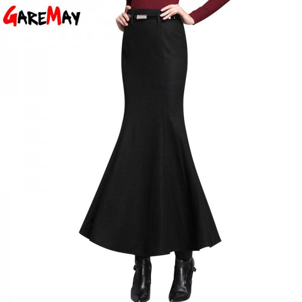 Women Long Skirt Black Maxi Elegant Warm Clothing Thick Full Skirts For Women Thumbnail