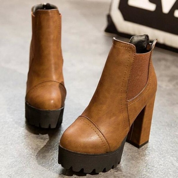 Women Motorcycle Boots Black High Heels Boots Lacing Platform Ankle Boots Chunky Plus Size Female Footwear Extra Image 2